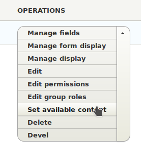 Group operations menu