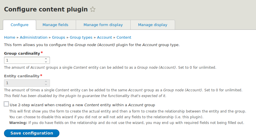 Configure a group content type